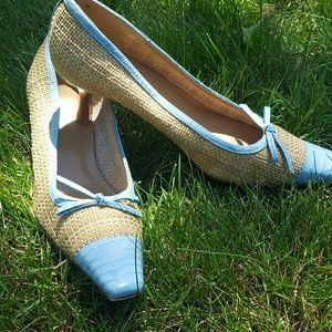 Stuart Weitzman baby blue woven croc cap heels